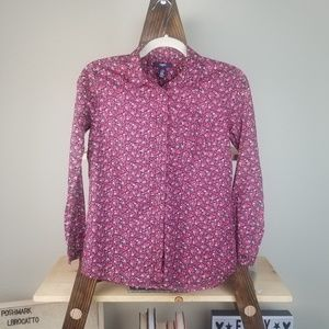 Gap Kids | Brown Red Floral Button Long Sleeve Top